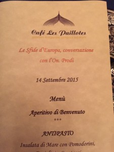 Il menù in onore di Prodi