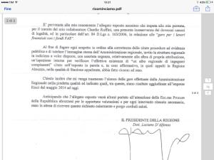 La lettera di D'Alfonso