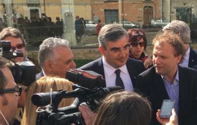 Luca Lotti con D'Alfonso e Monticelli a Pescara